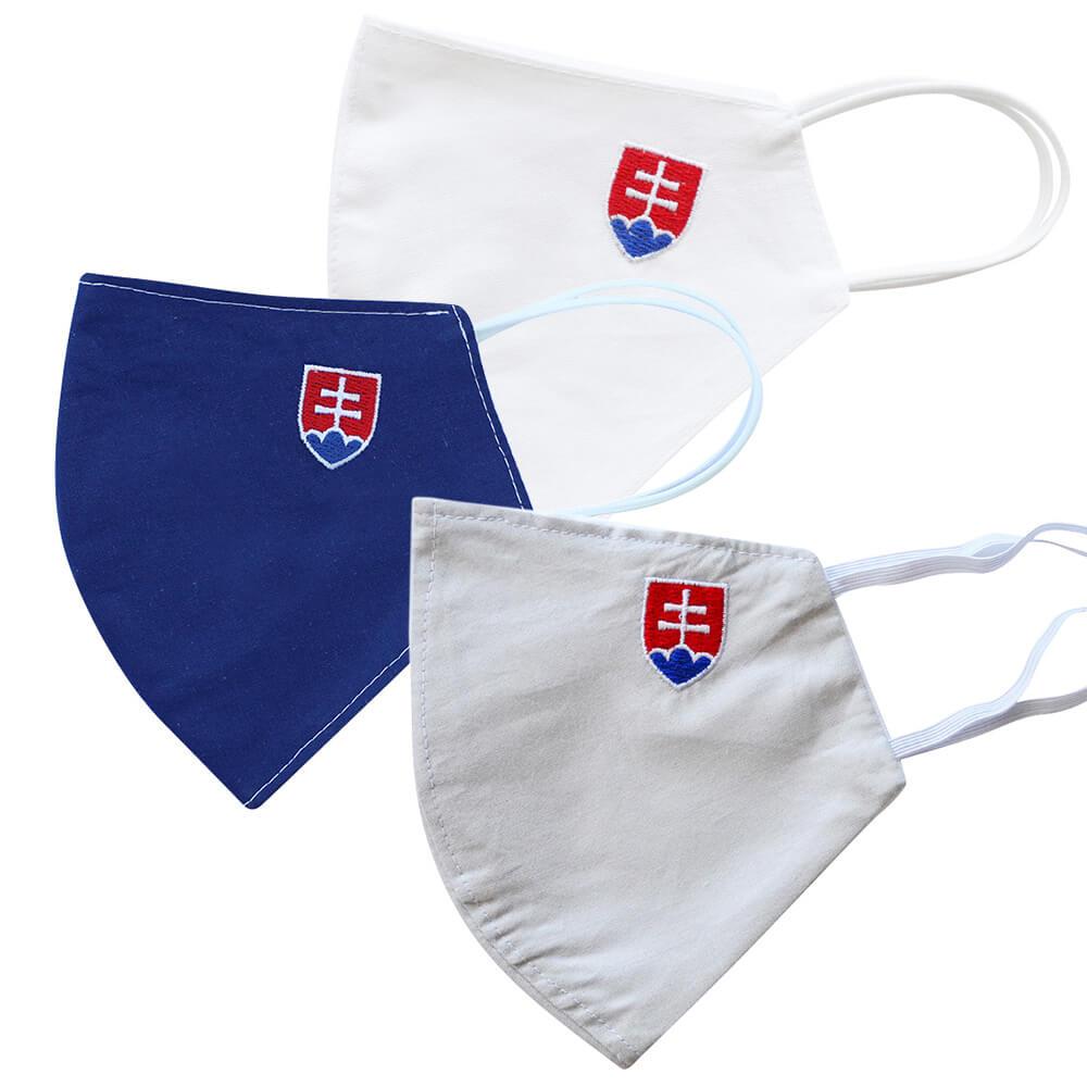 Rúška so slovenským znakom v akcii 2+1: Biele rúško (veľkosť L), modré rúško (veľkosť M) + sivé rúško (veľkosť L) GRÁTIS