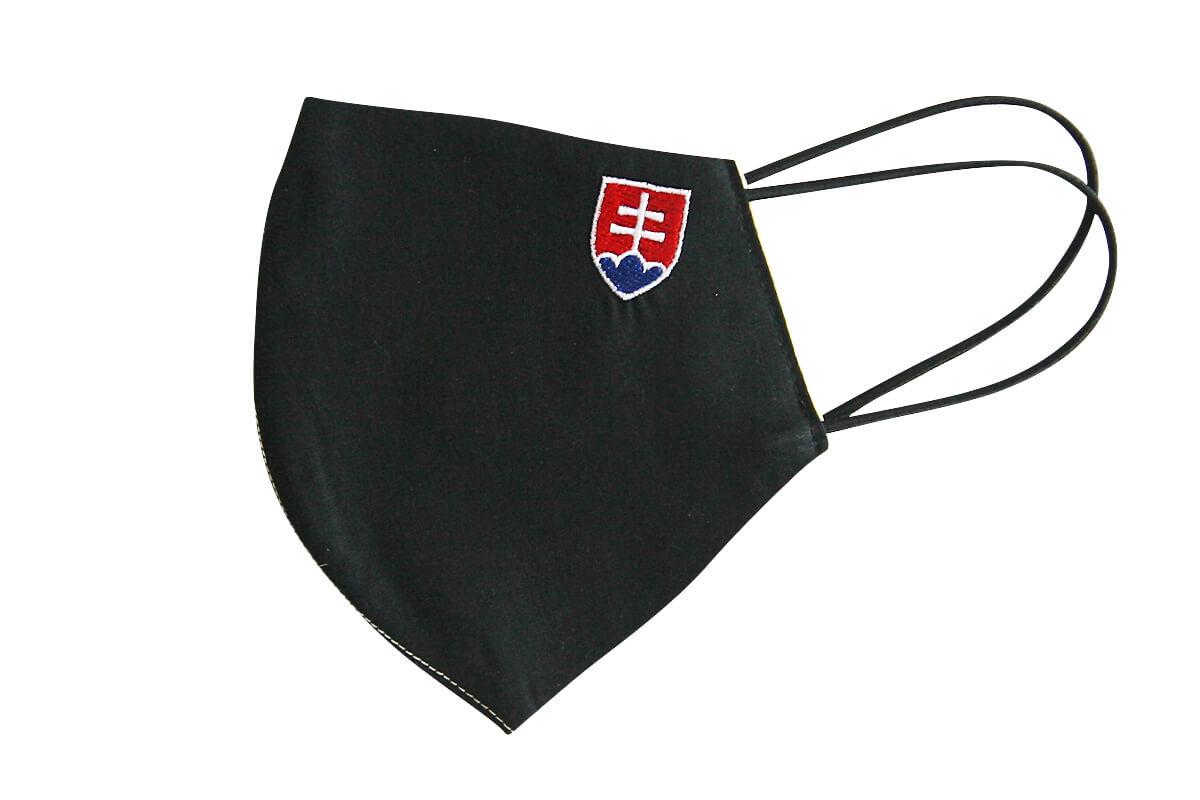 Rúško - maska so slovenským znakom - čierna, veľkosť L