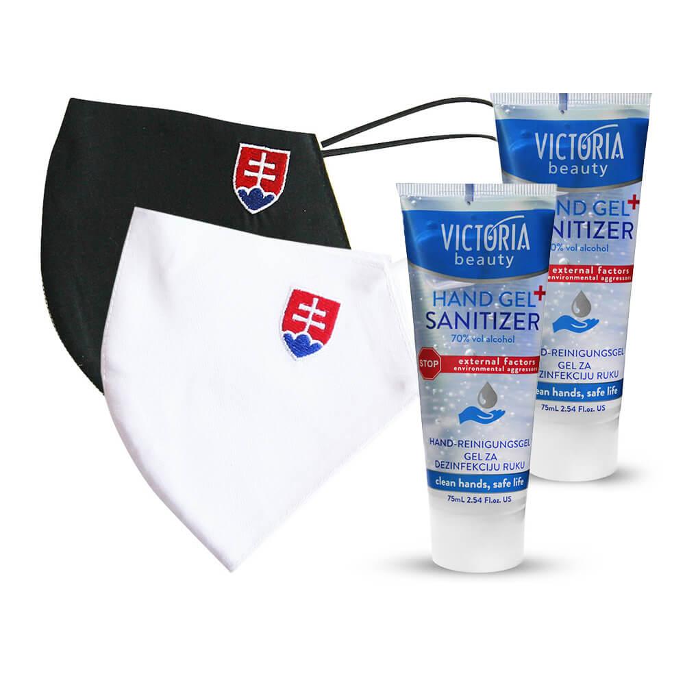 Rúško - maska so slovenským znakom - biela (veľkosť M, dámska) + čierna (veľkosť L) +  2x dezinfekčný gél na ruky