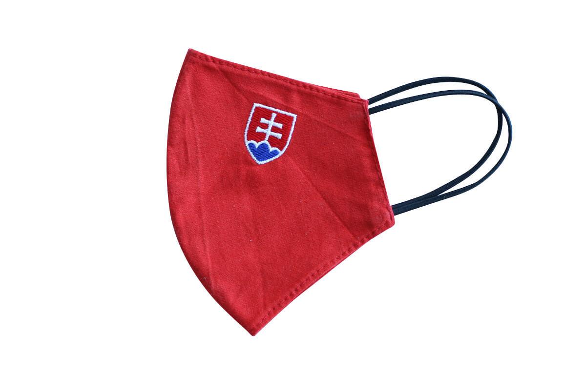 Rúško - maska so slovenským znakom - červená, veľkosť S