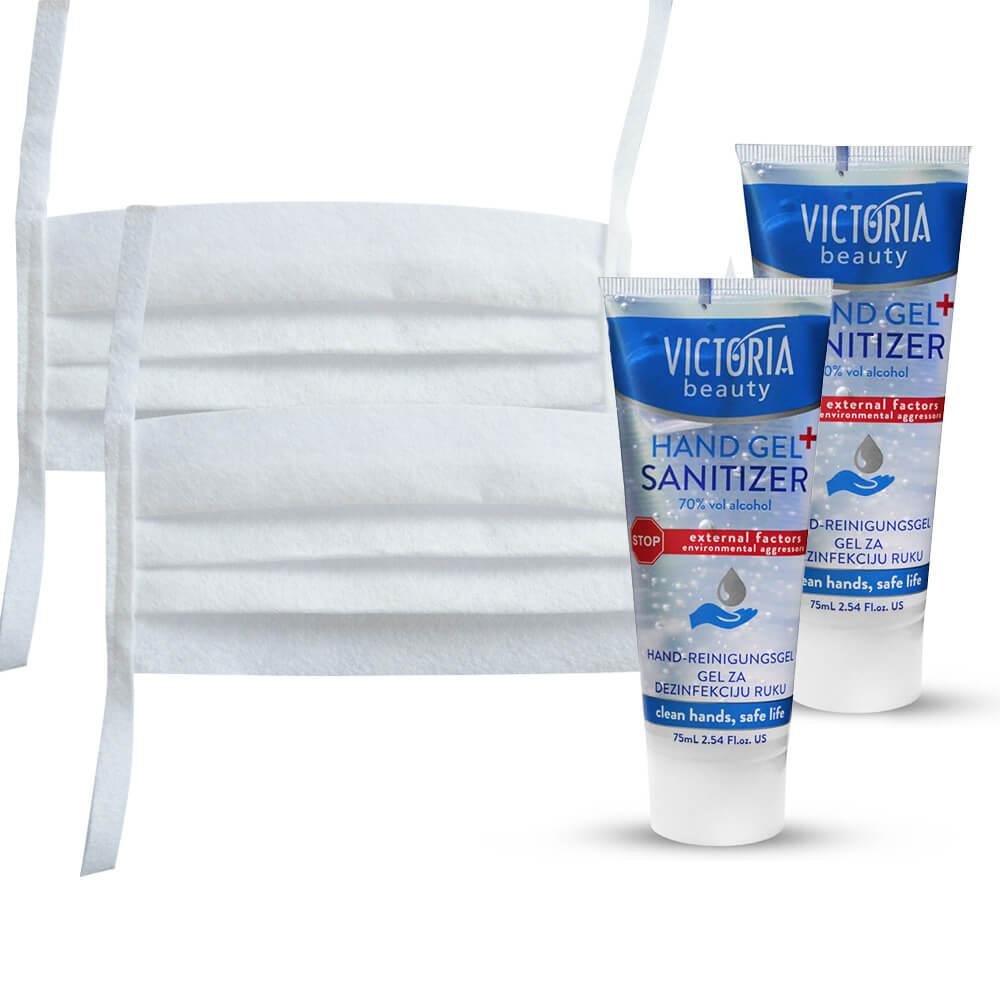 2x ochranné rúško biele +  2x dezinfekčný gél na ruky