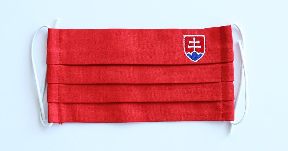 Rúško obdĺžnikové so slovenským znakom - červené