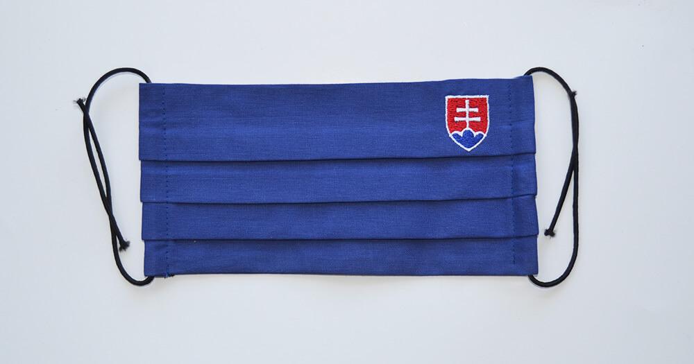 Rúško obdĺžnikové so slovenským znakom - modré