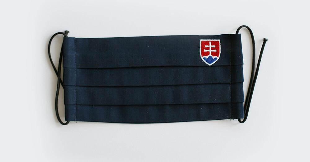 Rúško obdĺžnikové so slovenským znakom - tmavomodré