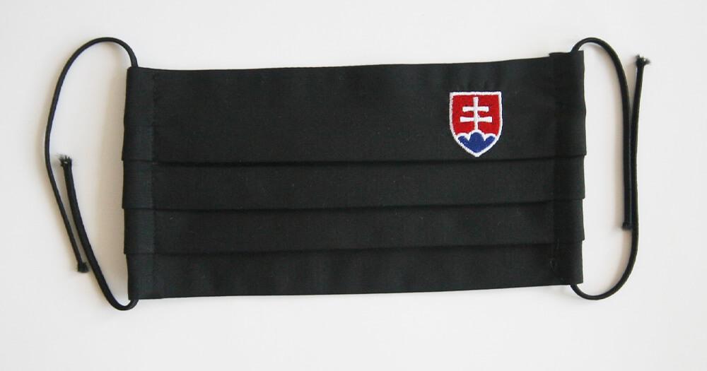 Rúško obdĺžnikové so slovenským znakom - čierne