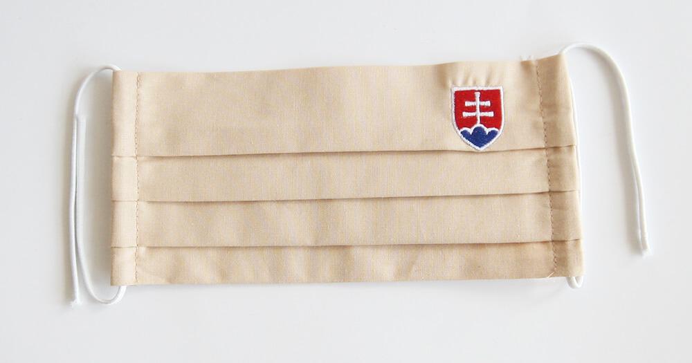 Rúško obdĺžnikové so slovenským znakom - krémové