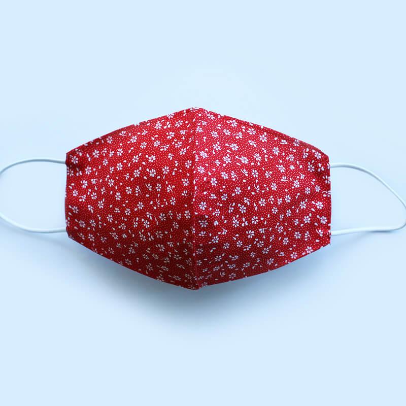 Bavlnené rúško Kvietok dámske - červeno-biele