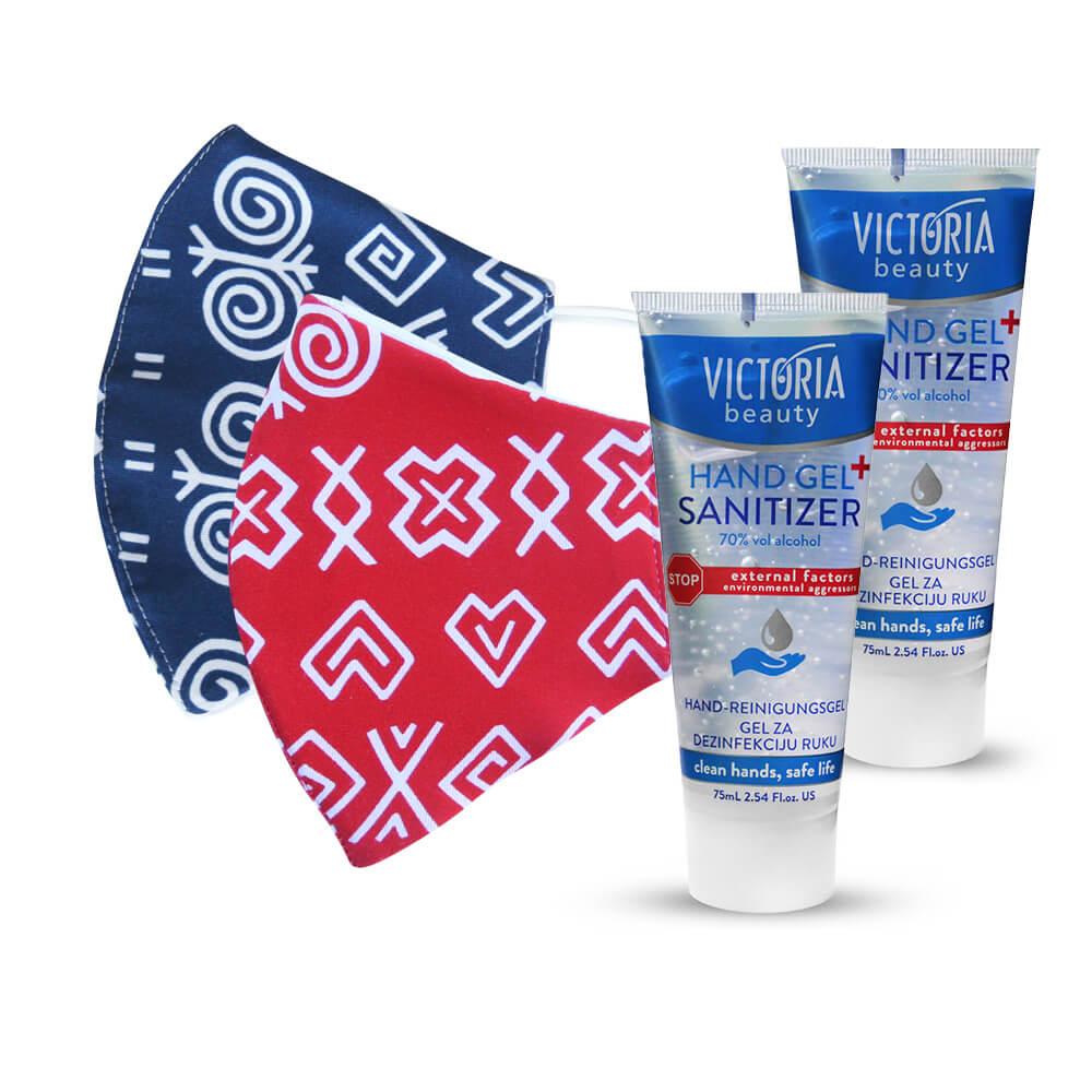 2x bavlnené rúško s ľudovým vzorom - modré a červené + 2x dezinfekčný gél na ruky