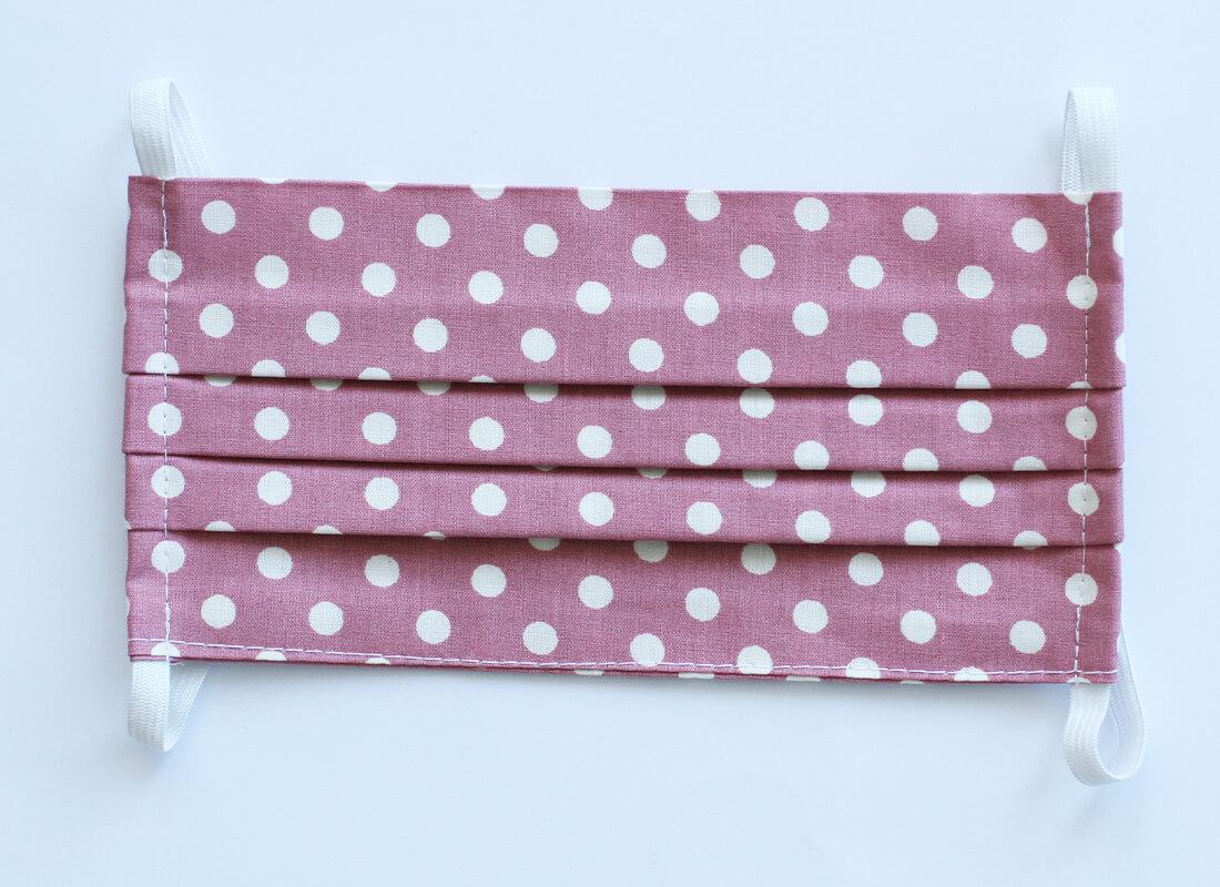 Bavlnené rúško - ružové bodkované