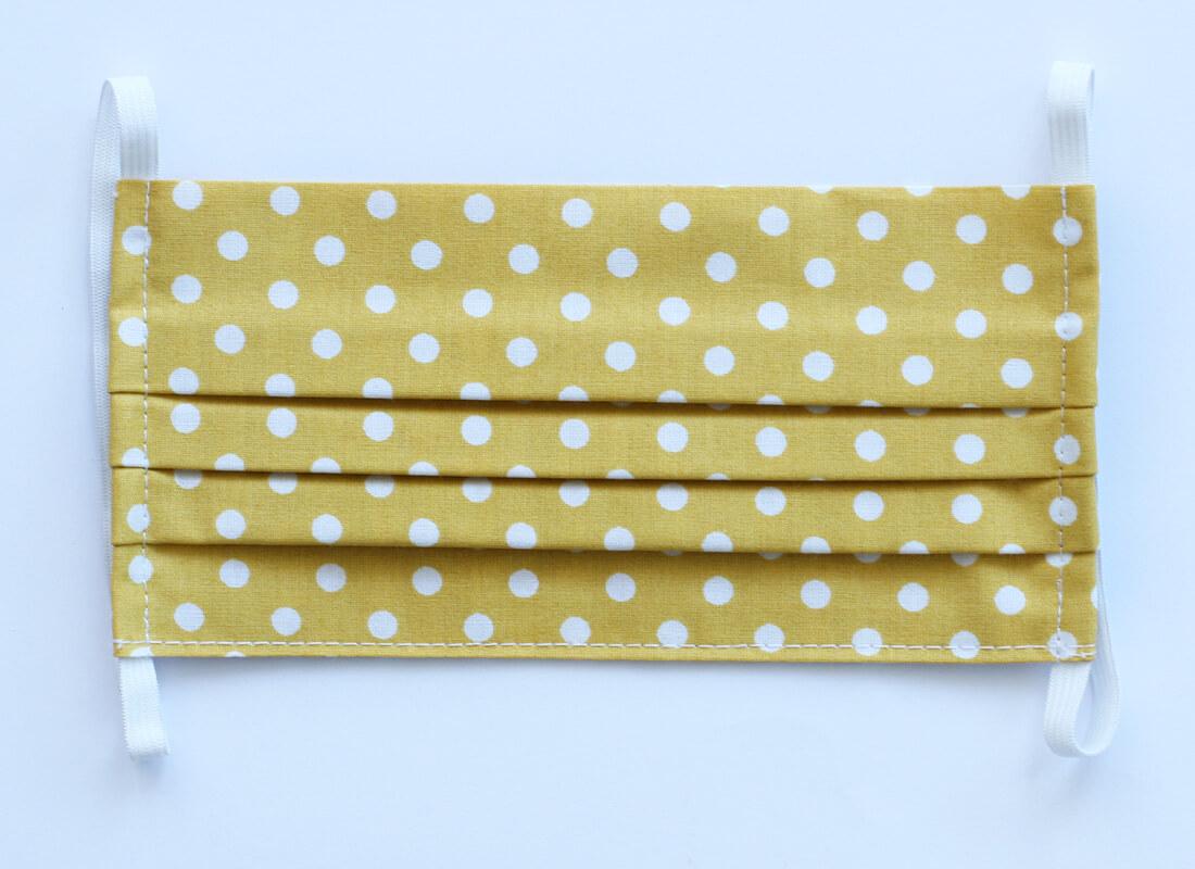 Bavlnené rúško - žlté  bodkované