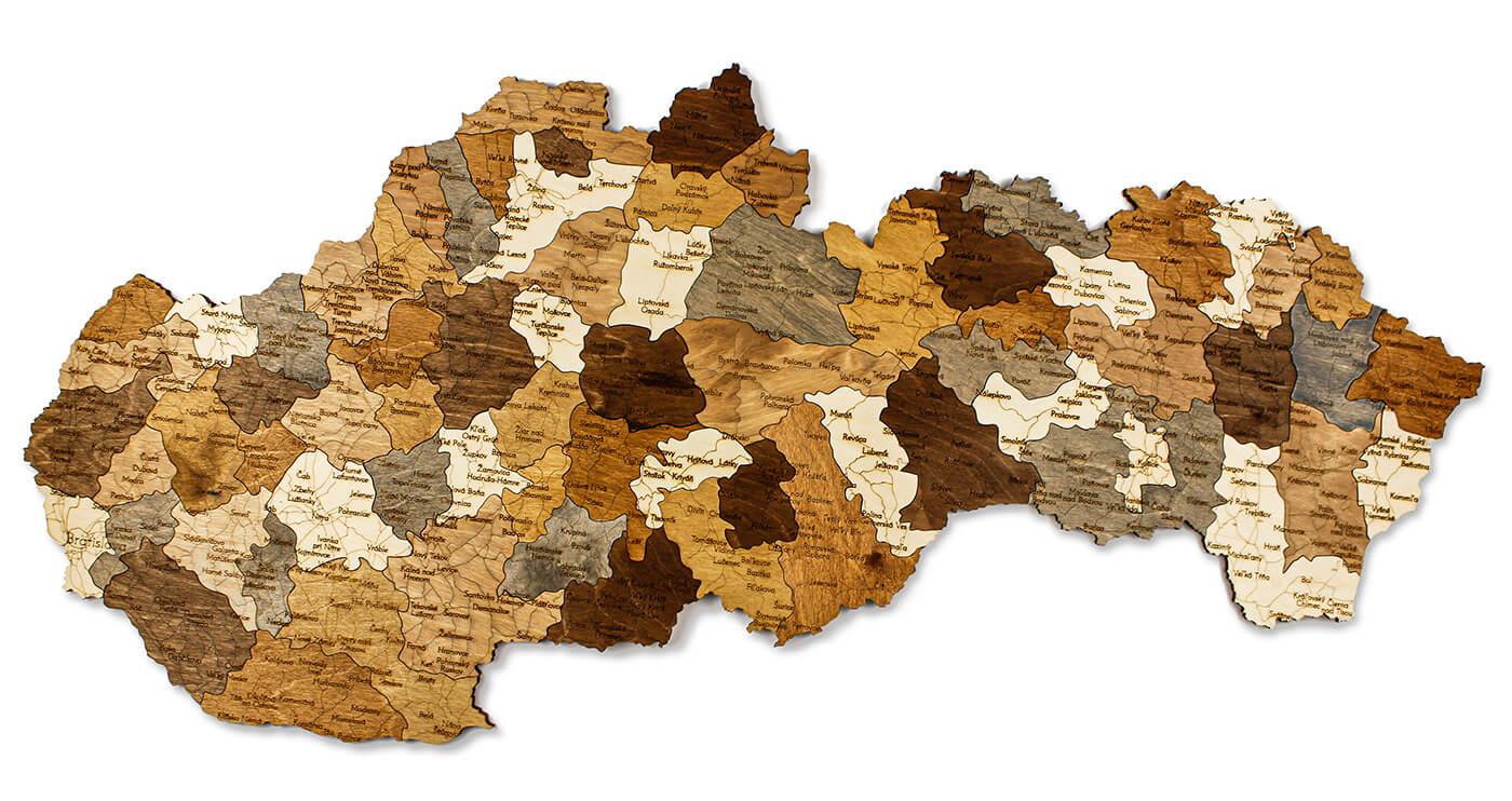 Drevená mapa Slovenska 100 x 50 cm