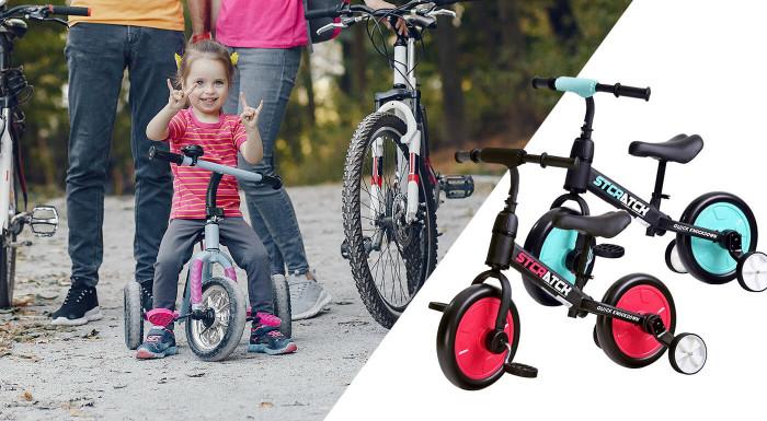 Učiť sa bicyklovať môžu už detičky od 12 mesiacov. S kvalitnými odrážadlami Stratch im to pôjde jedna radosť. Majú ľahkú, pevnú konštrukciu, pomocné kolieska i pedály, ktoré sa dajú ľahko odmontovať.