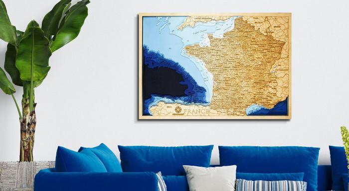 Drevené mapy prímorských krajín s 3D vrstvami