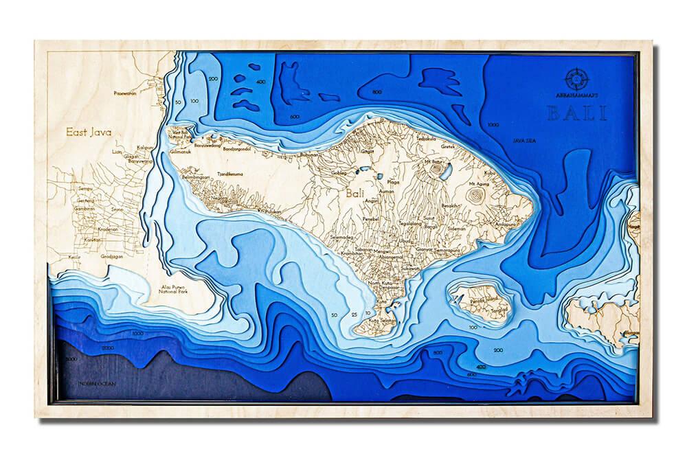 Drevená mapa Bali (rozmer 60 x 38 cm)