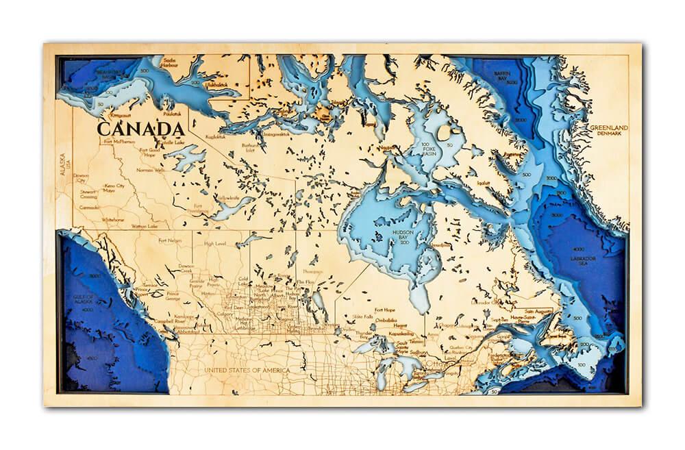 Drevená mapa Kanada (rozmer 60 x 38 cm)