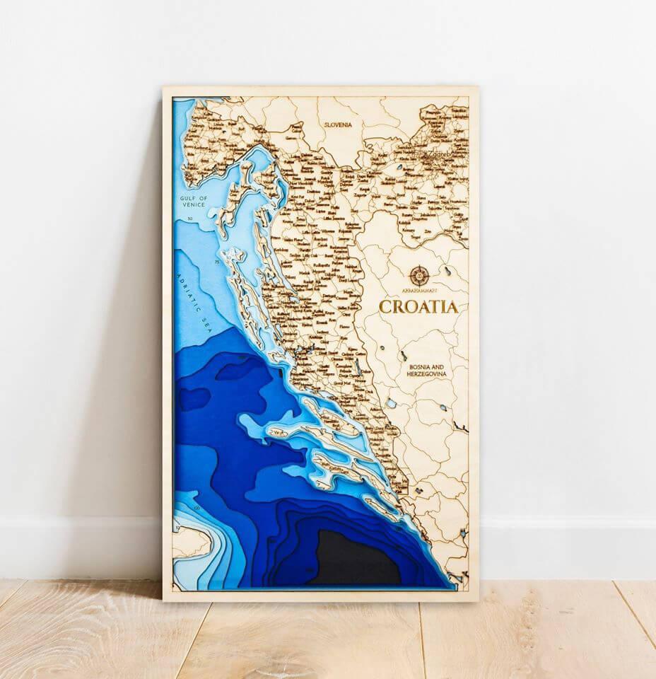 Drevená mapa Chorvátsko (rozmer 60 x 38 cm)