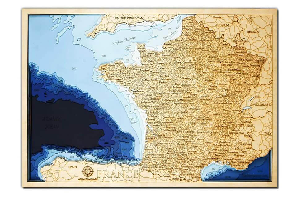 Drevená mapa Francúzsko (rozmer 60 x 38 cm)
