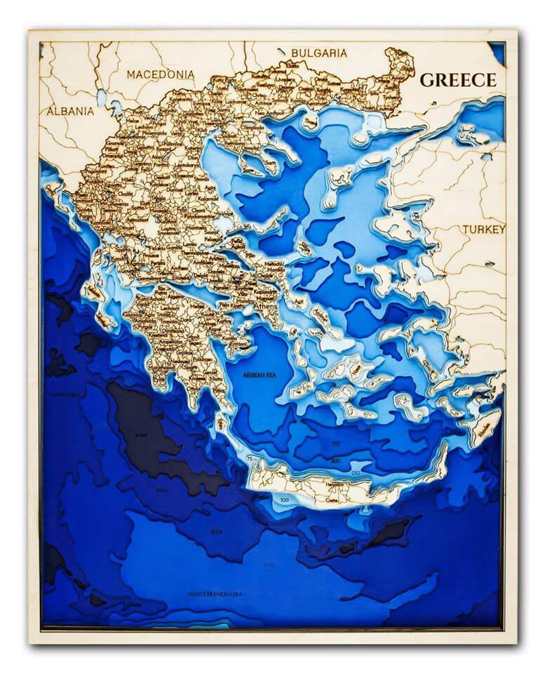 Drevená mapa Grécko (rozmer 60 x 38 cm)