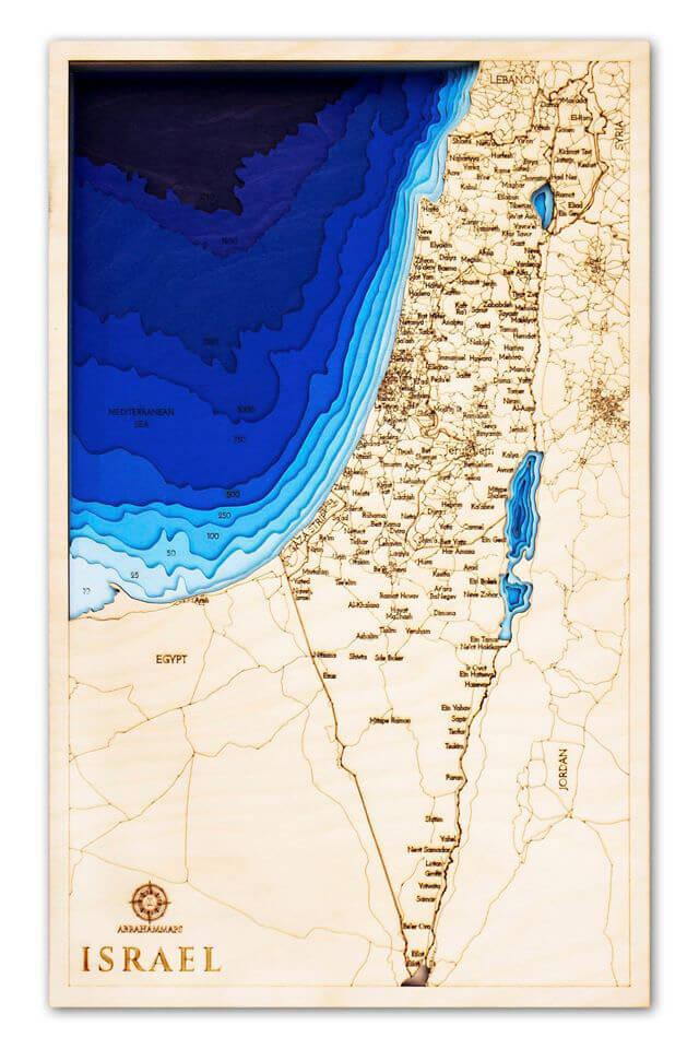 Drevená mapa Izrael (rozmer 60 x 38 cm)