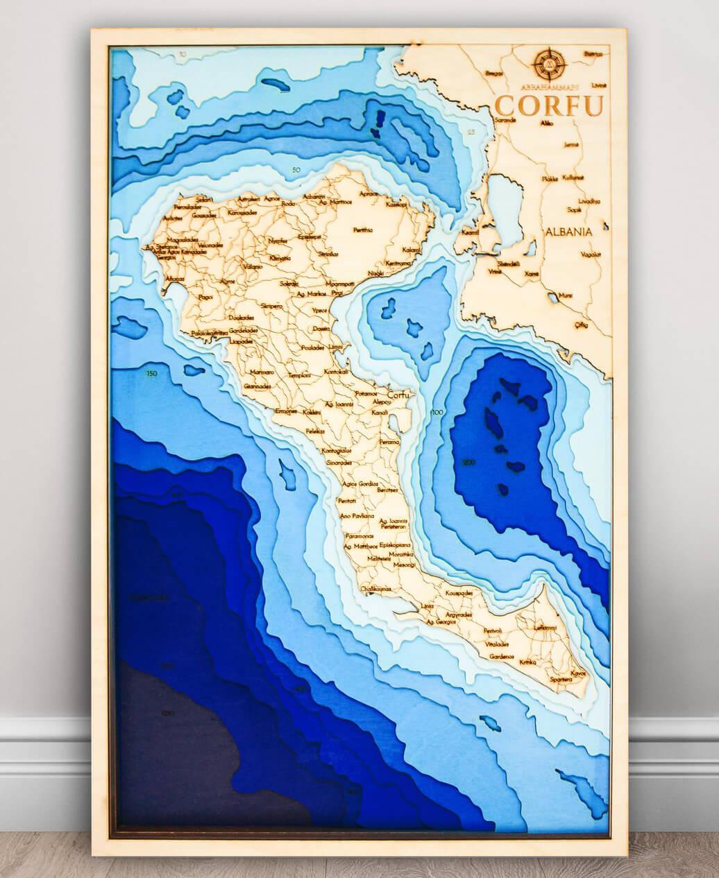 Drevená mapa Korfu (rozmer 60 x 38 cm)