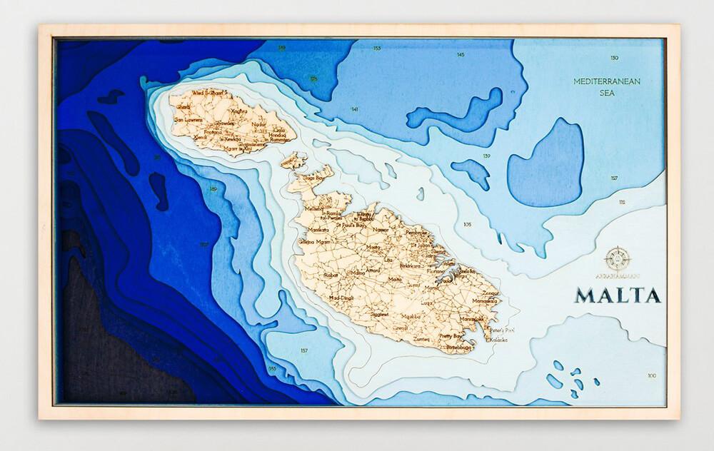 Drevená mapa Malta (rozmer 60 x 38 cm)