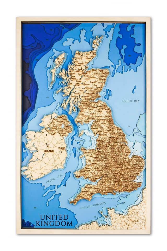 Drevená mapa Veľká Británia (rozmer 60 x 38 cm)