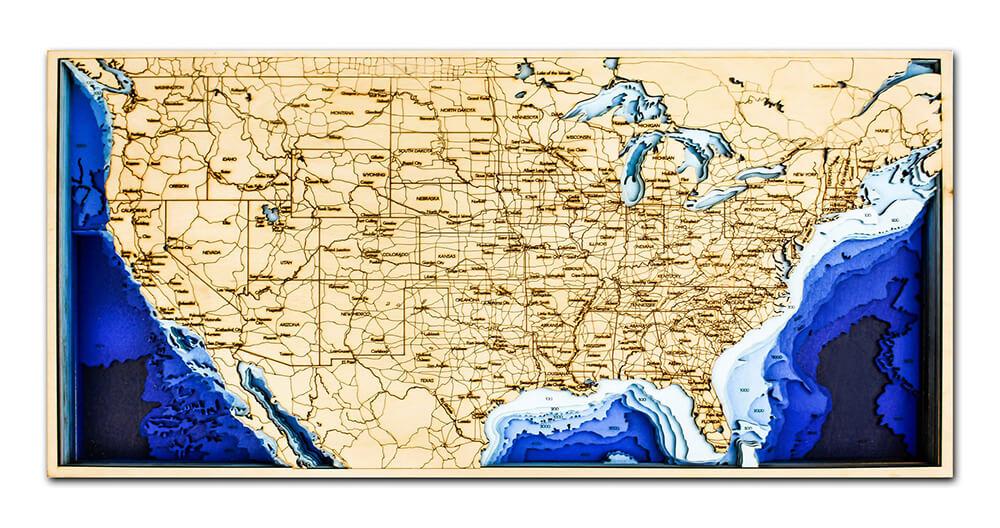 Drevená mapa USA (rozmer 60 x 38 cm)
