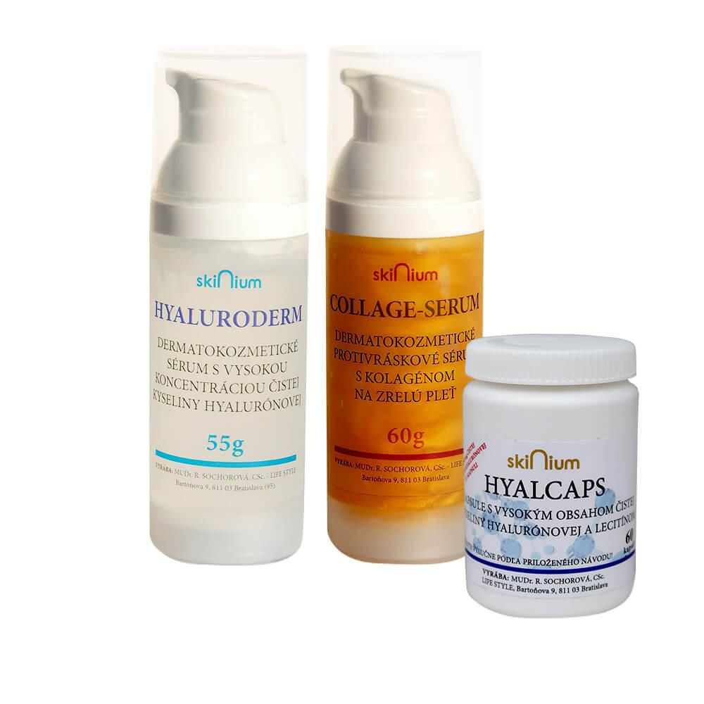 Balíček kozmetiky 1: Hyaluroderm sérum na deň 55 g, Collage sérum na noc 60 g, Hyalcaps pre celkovú hydratáciu (60 kapsúl)