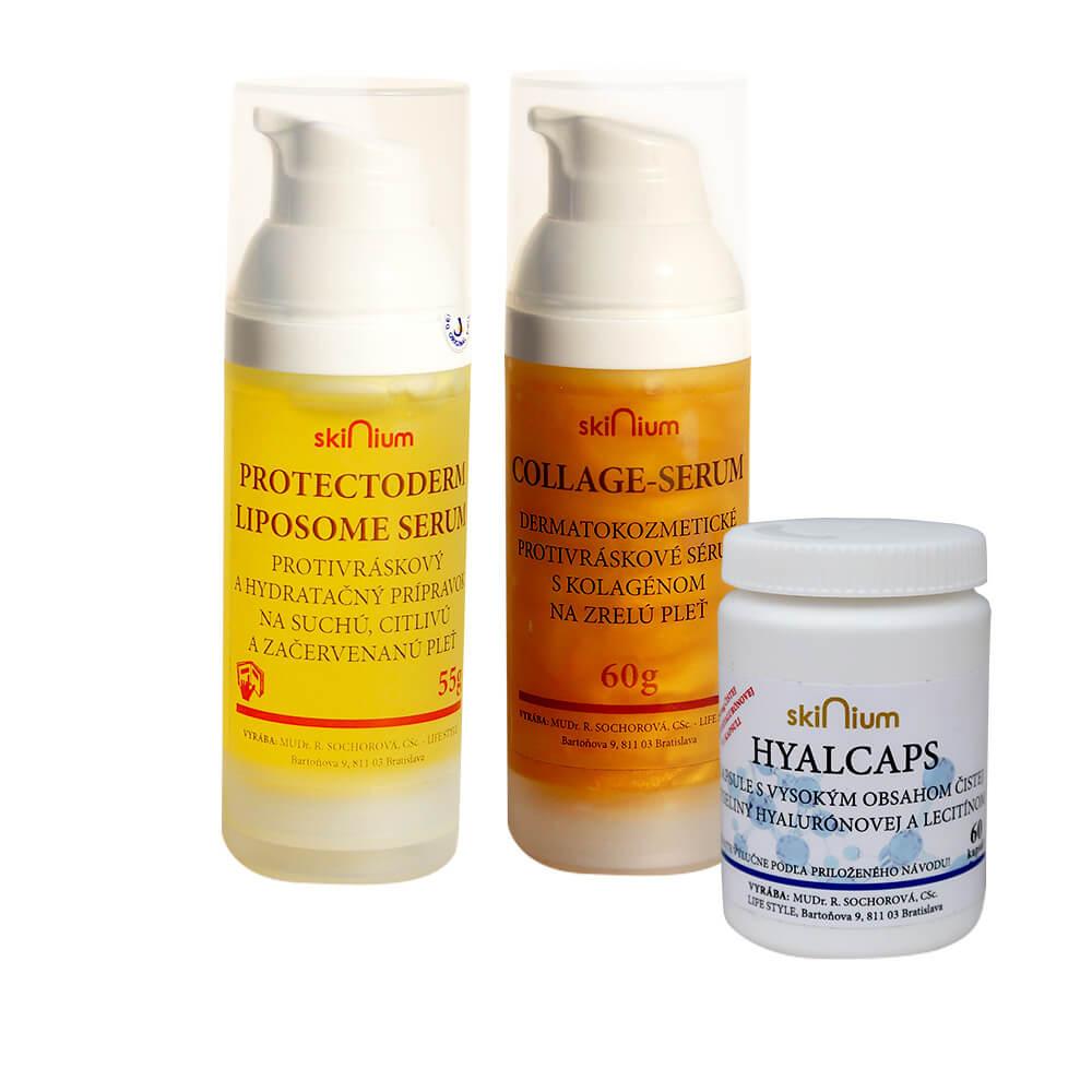 Balíček kozmetiky 2: Protectoderm na deň 55 g, Collage sérum na noc 60 g, Hyalcaps pre celkovú hydratáciu (60 kapsúl)
