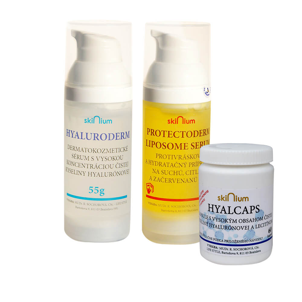Balíček kozmetiky 3: Hyaluroderm na deň 55 g, Protectoderm na noc 60 g, Hyalcaps pre celkovú hydratáciu (60 kapsúl)