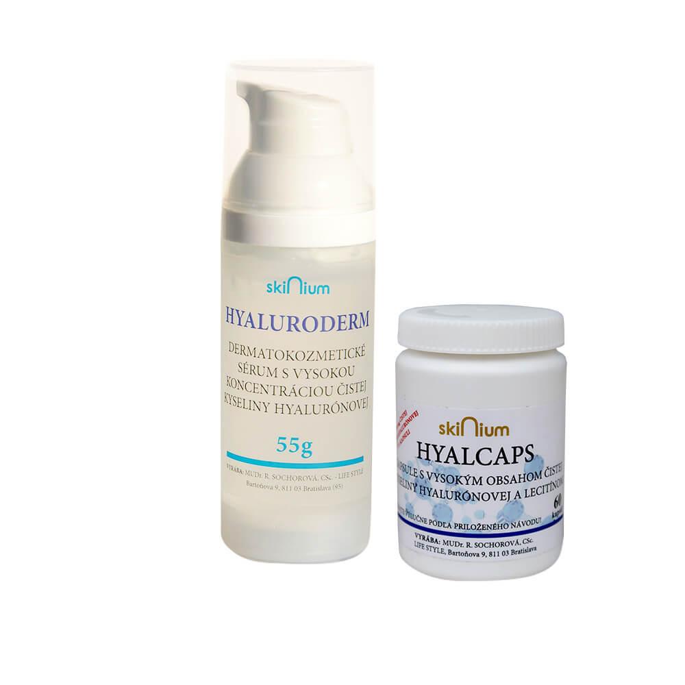 Balíček kozmetiky 4: Hyaluroderm na deň a noc 55 g, Hyalcaps pre celkovú hydratáciu (60 kapsúl)