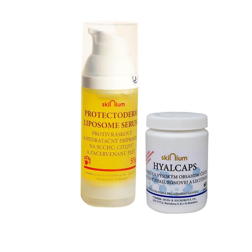Balíček kozmetiky 5: Protectoderm na deň a noc 55 g, Hyalcaps pre celkovú hydratáciu (60 kapsúl)