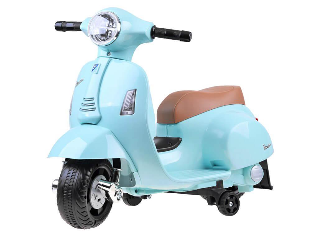 Elektrická motorka Vespa pre deti svetlomodrá