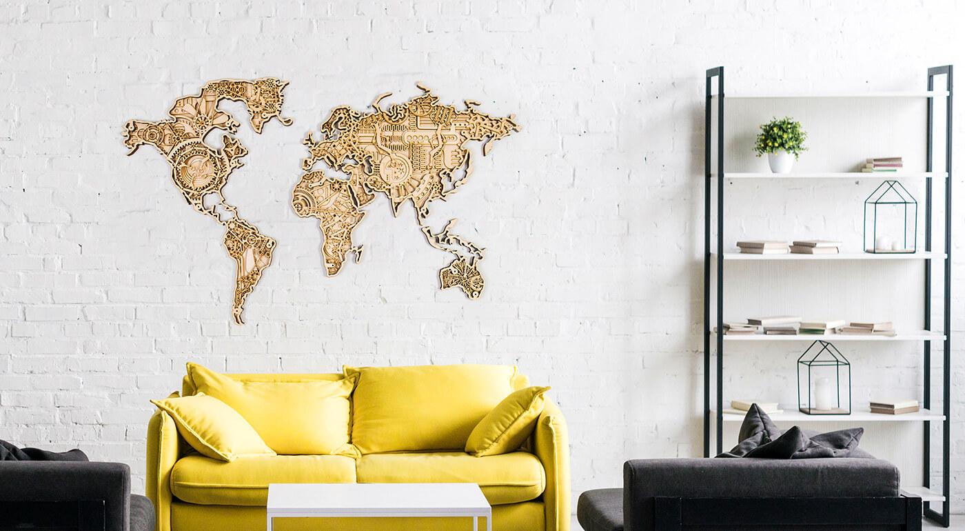 Dizajnová drevená mapa sveta INDUSTRIAL 140x82 cm