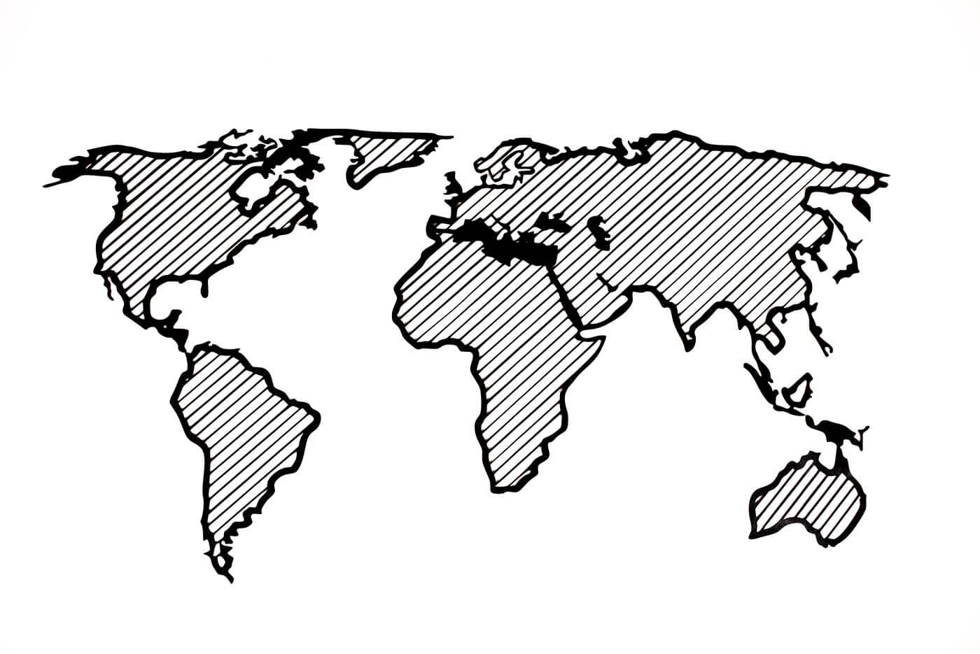 Drevená mapa sveta LINE L Traveler (bez názvov kontinentov) - rozmery 150 x 77 cm