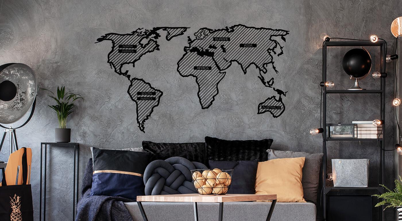 Veľká drevená mapa sveta LINE na stenu - minimalistická mapa, ktorá ozvláštni váš domov