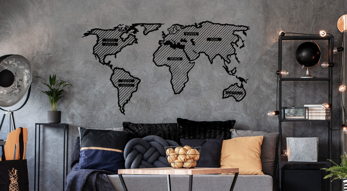 Drevená mapa sveta LINE