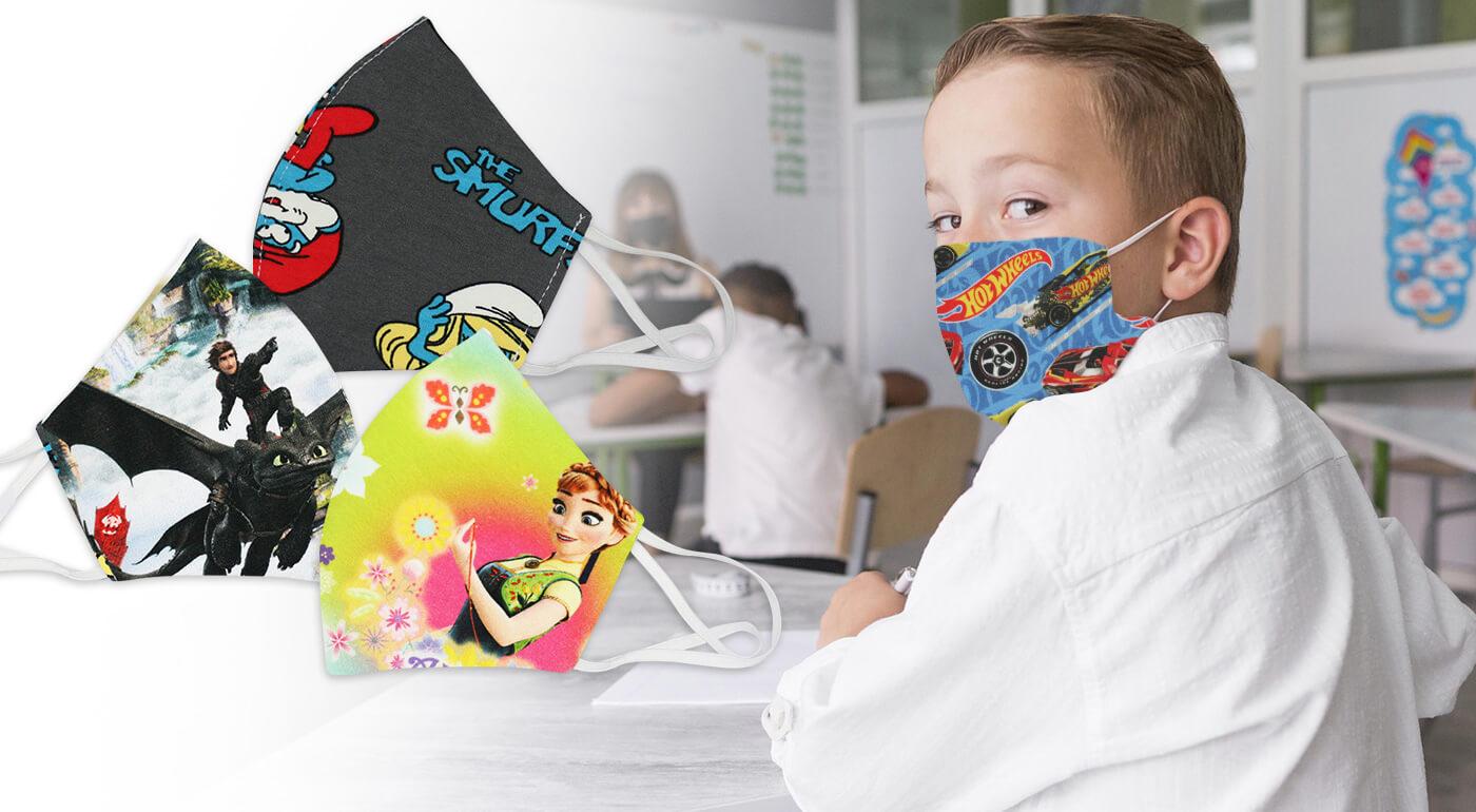 Detské rúška s veselým dizajnom - v ponuke vzory Mickey Mouse, Šmolkovia, Frozen či Hot Wheels