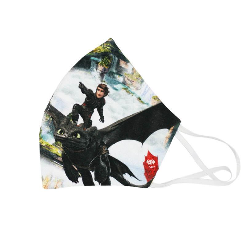 Detské bavlnené rúško - Ako skrotiť draka (18x11 cm)
