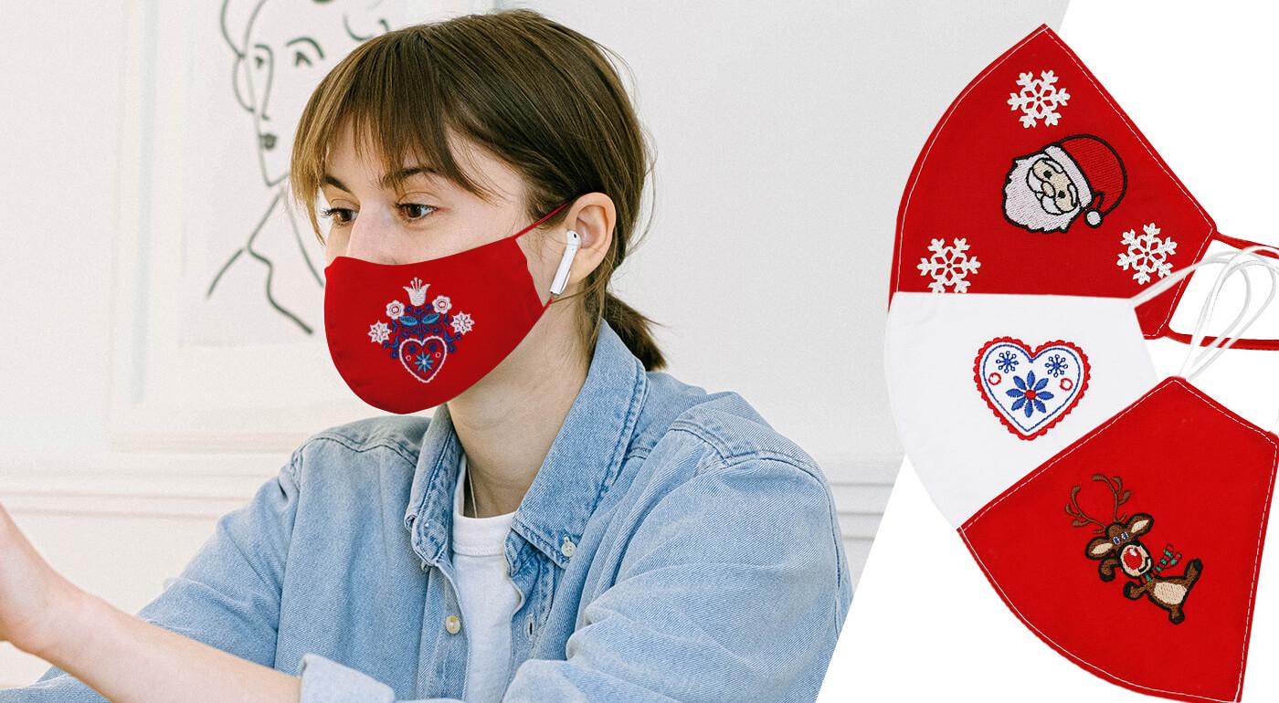 Vyšívané bavlnené rúška vyrobené na Slovensku - nové vianočné a ľudové motívy