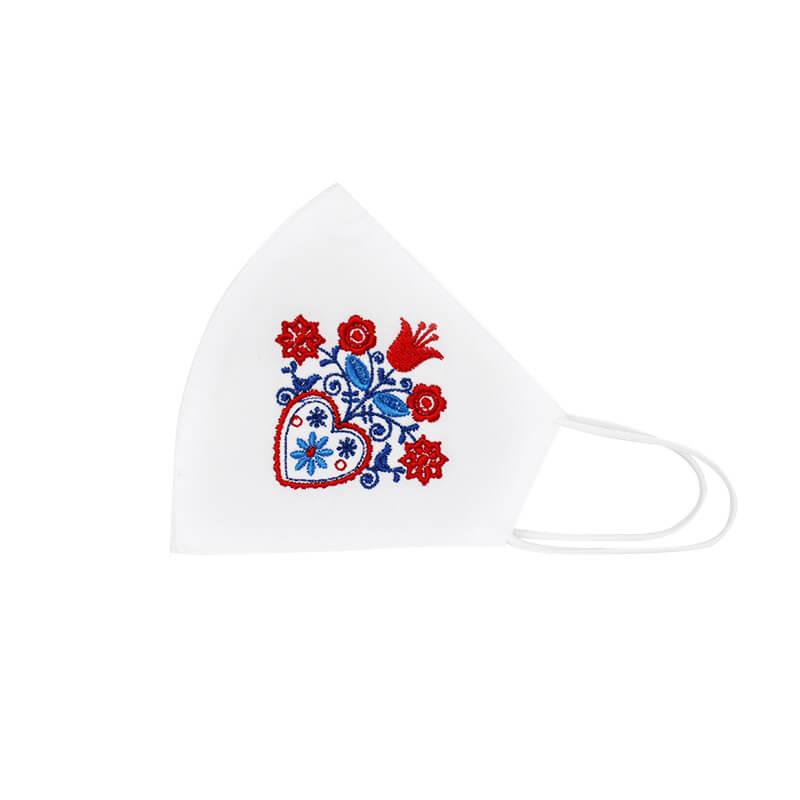 Bavlnené rúško Srdce a kvety dámske - biele