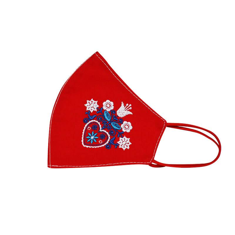 Bavlnené rúško Srdce a kvety dámske - červené