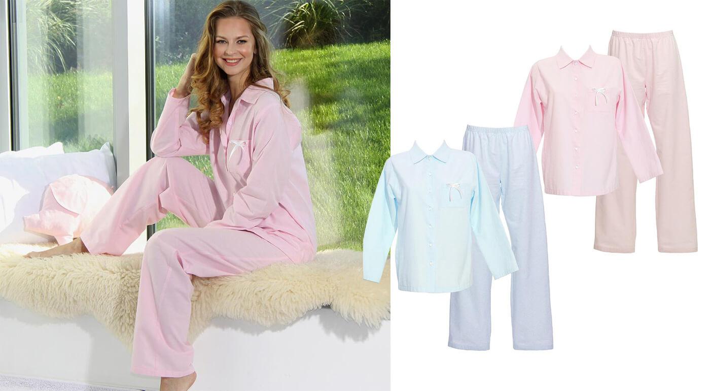 Dámske pyžamo z organickej bavlny - flanelu vyrobené na Slovensku