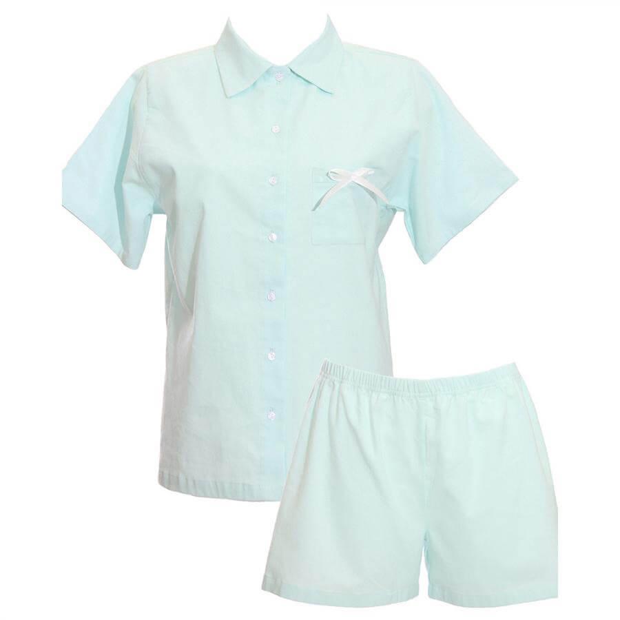 Krátke dámske pyžamo z organickej bavlny - flanelu - svetlomodré, veľkosť S