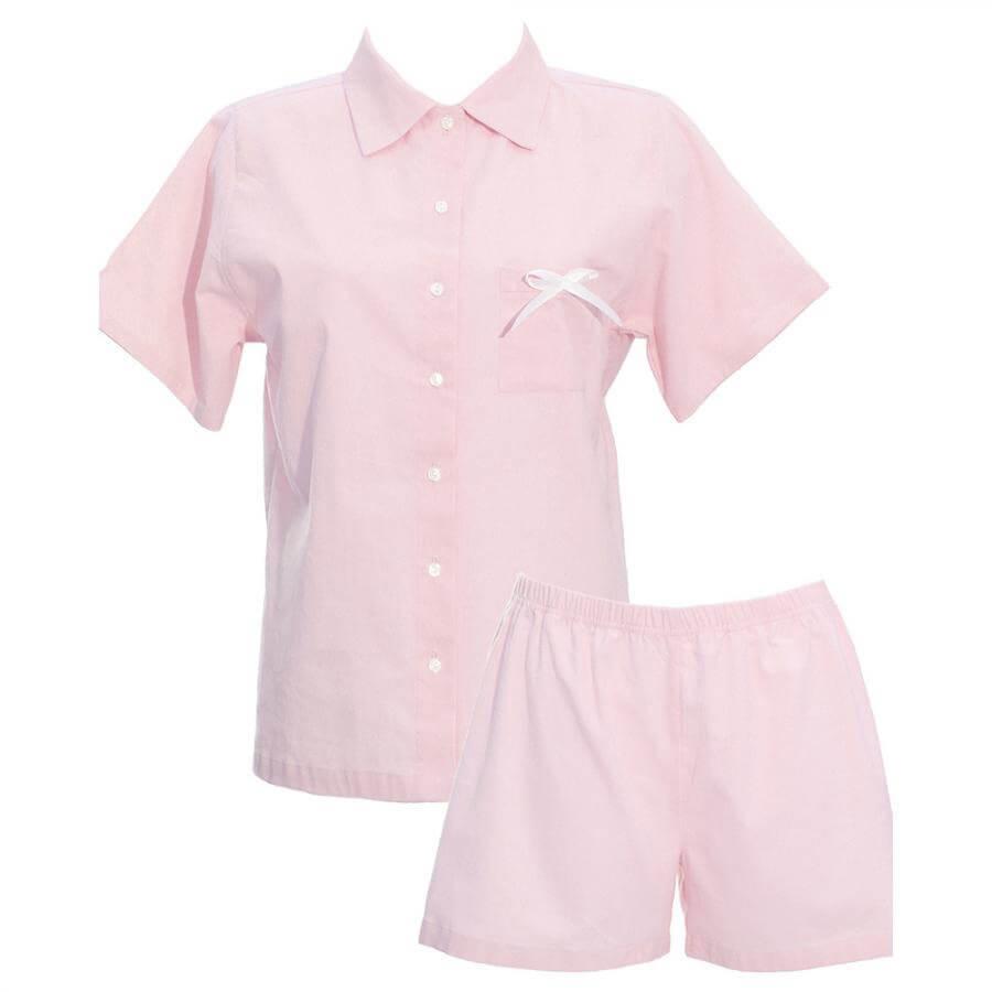 Krátke dámske pyžamo z organickej bavlny - flanelu - svetloružové, veľkosť S