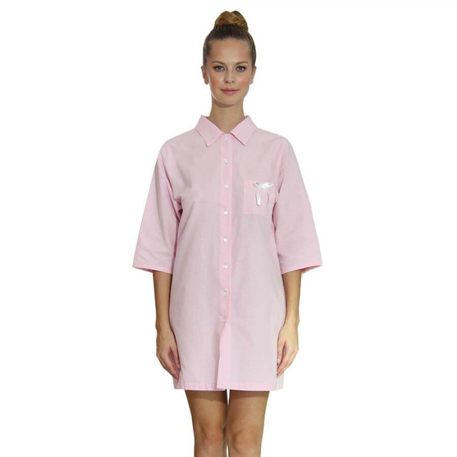 Dámska košeľa z organickej bavlny - flanelu - svetloružová, veľkosť M