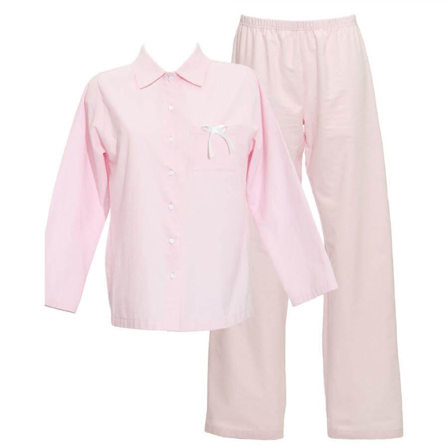 Dlhé dámske pyžamo z organickej bavlny - flanelu - svetloružové, veľkosť S
