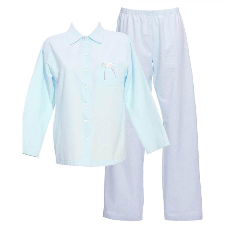 Dlhé dámske pyžamo z organickej bavlny - flanelu - svetlomodré, veľkosť M