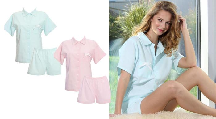 Krátke pyžamo pre dámy z organických materiálov