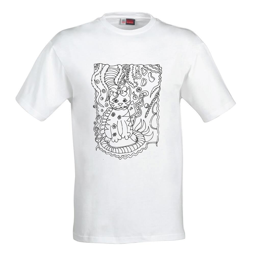 Detské tričko Omaľovánka - Mačka s mašľou, veľkosť 110 (4 roky)